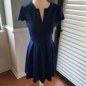 Dresses & Skirts - Blue Pleated Dress with Cap Sleeves